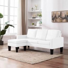 288768 vidaXL Sofá de 3 lugares com apoio de pés couro artificial branco