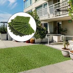 Outsunny Grama artificial sintética para jardim com grama de 25mm de altura Conjunto de 10 peças 30x30x3,5cm
