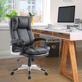 HomCom Cadeira de Escritório Preto altura ajustável PU 66x71x110-120,5 cm