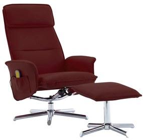 289847 vidaXL Poltrona massagens + apoio pés couro artificial vermelho tinto