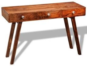 242463 vidaXL Mesa consola com 3 gavetas 76 cm madeira sheesham sólida
