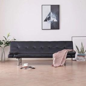 Sofá-cama com 2 almofadas couro artificial castanho