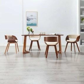 278857 vidaXL Cadeiras jantar 4 pcs madeira curvada e couro artificial creme