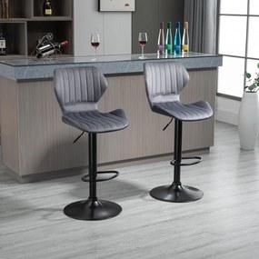HOMCOM Conjunto de 2 Bancos de Bar Bancos Altos de Cozinha Giratório Altura Ajustável 91,5-113,5cm com Apoio para os Pés e Base de Metal Ø41 cm Cinza
