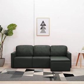 288795 vidaXL Sofá-cama modular de 3 lugares couro artificial cinzento