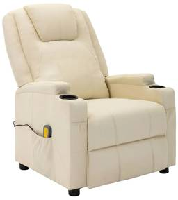 321312 vidaXL Poltrona de massagens reclinável couro artificial branco nata