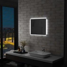 Espelho de parede LED c/ sensor tátil casa de banho 60x50 cm