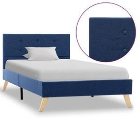 284823 vidaXL Estrutura de cama 100x200 cm tecido azul