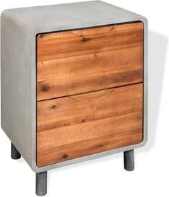 Mesa de cabeceira em betão e madeira acácia maciça 40x30x50 cm