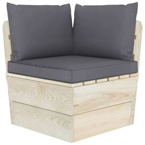 315064 vidaXL Almofadões para sofás de paletes 3 pcs tecido antracite