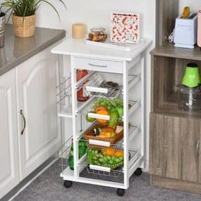 HOMCOM Carrinho de cozinha de 5 níveis com gaveta Cestas Rodas 47x37x83 Branco