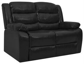288497 vidaXL Sofá reclinável de 2 lugares couro artificial preto