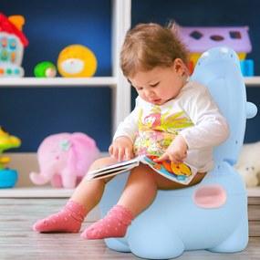 HOMCOM Bacio infantil penico para bebê removível em forma de hipopótamo com alças 40x30x23cm Carga 25kg Azul