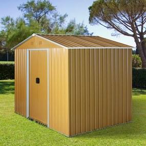 Outsunny Galpão de jardim de 4.1m² para armazenamento de ferramentas externas com portas deslizantes de aço galvanizado 236x174x190 cm Amarelo mostarda