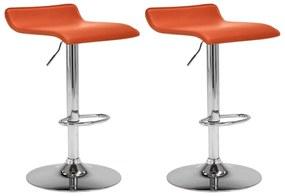 323333 vidaXL Bancos de bar 2 pcs couro artificial laranja