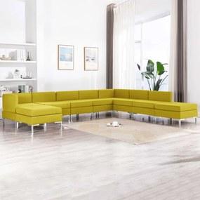 3052896 vidaXL 9 pcs conjunto de sofás tecido amarelo