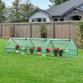 Outsunny Estufa de jardim pequeno com 3 janelas para flores e plantas 400x100x80 cm Verde