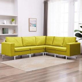 5 pcs conjunto de sofás tecido amarelo