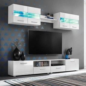 Conj. unidades de parede p/ TV luzes LED 5 pcs branco brilhante