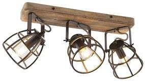 Foco industrial preto com madeira ajustável 3 luzes - Arthur Industrial
