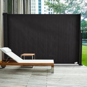 Outsunny Toldo Lateral Retrátil para Terraço de Jardim ou Pátio Poliéster 350x180cm Cinza Escuro