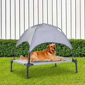 PawHut Cama portátil elevada para animais de estimação com toldo removível tecido respirável para interior e exterior 76x61x76 cm cinza