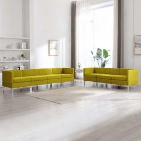 7 pcs conjunto de sofás tecido amarelo