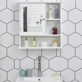 kleankin Gabinete de banheiro com grande espelho com prateleira ajustável interna e prateleiras abertas 60x18x63 cm Branco