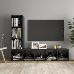3079932 vidaXL Móveis de TV 2 pcs 142,5x35x36,5 cm contrapl. preto brilhante