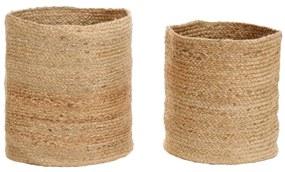 245121 vidaXL Conjunto cestos de arrumação 2 pcs juta artesanal natural