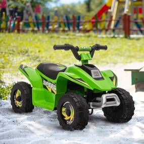 HOMCOM Quadriciclo Elétrico para Crianças acima de 3 Anos Veículo Elétrico Quadriciclo a Bateria 6V com Avance e Retrocesso Carga Máx. 30kg 72x40x45,5cm Verde