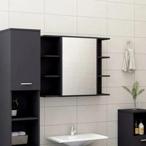 802608 vidaXL Armário casa banho c/ espelho 80x20,5x64cm contraplacado cinza