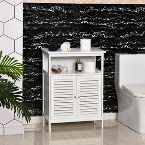 kleankin Armário de banheiro auxiliar com 2 portas Prateleiras 60x30x81,6 cm Branco