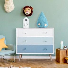 HOMCOM Cómoda infantil com 3 gavetas Cómoda com pernas para roupas ou brinquedos cor Azul