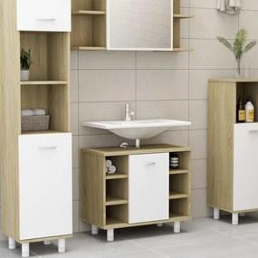 802638 vidaXL Armário casa de banho 60x32x53,5 cm contrapl. branco/carvalho