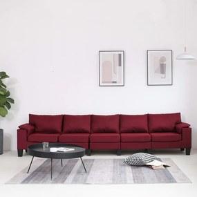 287108 vidaXL Sofá de 5 lugares em tecido vermelho tinto