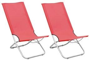 310376 vidaXL Cadeiras de praia dobráveis 2 pcs tecido vermelho