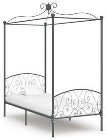 284481 vidaXL Estrutura de cama com dossel 100x200 cm metal cinzento