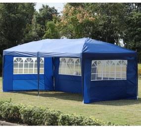 Outsunny Pérgola Dobrável 600x300x255cm Aço Oxford com 4 Painéis Janelas Azul