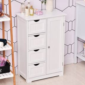 Kleankin Armário de madeira para o banheiro ou entrada de móveis de madeira moderno organizador 1 portas e 4 gavetas Cor Branco 56x30x83 cm