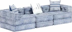 Sofá-cama modular de 3 lugares tecido azul