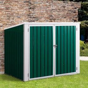 Outsunny Galpão de jardim para 2 contêineres de lixo Casa de ferramentas com tampa de elevador pneumático de aço 173x100x134 / 114 cm Verde