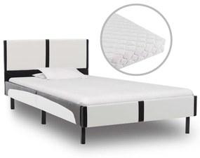 277525 vidaXL Cama com colchão 90x200 cm couro artificial branco e preto