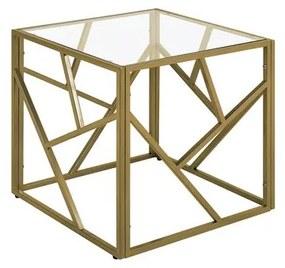 Mesa de apoio dourada com tampo de vidro ORLAND