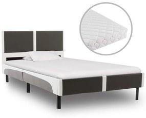 277535 vidaXL Cama com colchão 90x200 cm couro artificial cinzento e branco