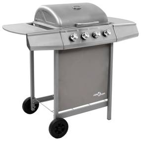 3053626 vidaXL Grelhador/barbecue a gás 4 discos prateado