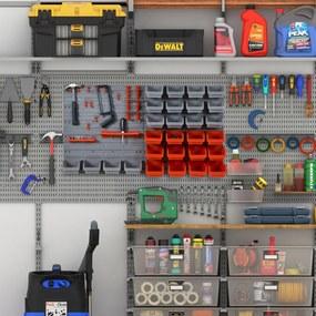DURHAND Organizador de ferramentas com caixas e ganchos 63,5x22,5x95,5cm cinza e vermelho