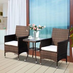 Outsunny Conjunto de 1 Mesa 2 Cadeiras Rattan para Jardim com almofada Estrutura Metal Cor Castanho