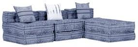 249411 vidaXL Pufe modular de 3 lugares tecido azul índigo