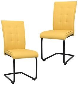 287834 vidaXL Cadeiras de jantar cantilever 2 pcs tecido amarelo mostarda